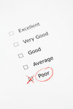 Rating scale with POOR checked Stock Photo