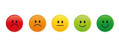 Free Rating Smiley Faces Red To Green Stock Photography - 124694732