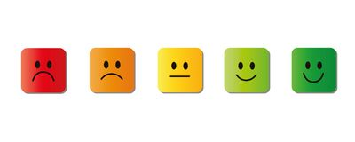 Free Rating Smiley Faces Red To Green Quadrat Stock Photo - 123980770