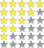 Rating  stars. Rating stars isolated on white Royalty Free Stock Photo