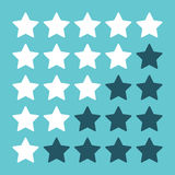 Rating stars on blue. White and blue rating stars isolated on turquoise background. Flat design. EPS 8 vector illustration, no transparency Royalty Free Stock Photos