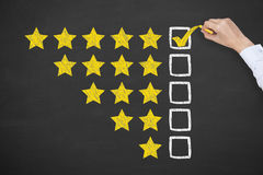 Rating Stars Concept Drawing on Blackboard. Working Conceptual Concept stock image