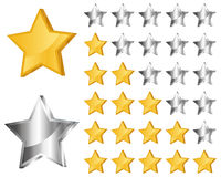 Rating stars. Golden and silver rating stars combination of five stars illustration Royalty Free Stock Images
