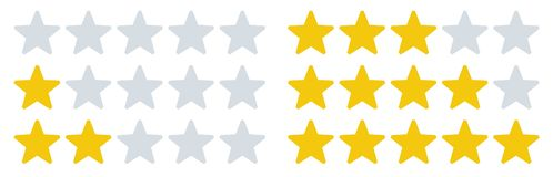 Rating stars icons. Star rates, feedback ratings and rate review. Five stars vector illustration set stock illustration