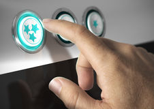 Rating Stars. One finger pressing a three stars button, image concept of rating or excellent quality vector illustration