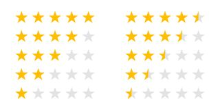 Rating stars 5 rate review vector web ranking star. Rating stars icons for 5 star and half rate. Vector review ranking stars for web design signs royalty free illustration
