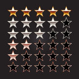Rating stars. Set of rating stars. Gold star, silver star, bronze star illustration Royalty Free Stock Images