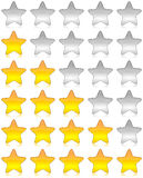 Rating stars survey. Yellow and white glossy stars for rating and survey Royalty Free Stock Images