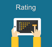 Rating system on phone screen. Giving feedback concept. Stock Photography
