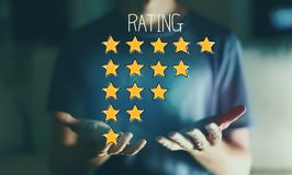 Rating theme with young man royalty free stock photo