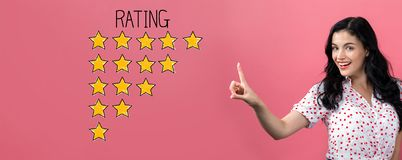 Rating theme with young woman stock photography
