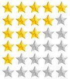 Ratingowe złote gwiazdy ustawiać Obrazy Royalty Free