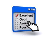 Ratings board. Illustration of ratings board for use on a computer screen with options to tick, excellent, ticked, good, average, and poor performances isolated Stock Photo