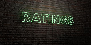 RATINGS -Realistic Neon Sign on Brick Wall background - 3D rendered royalty free stock image. Can be used for online banner ads and direct mailers stock illustration
