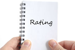 Ratings text concept. Isolated over white background royalty free stock image