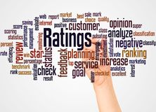 Ratings word cloud and hand with marker concept. On white background stock photography