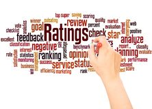 Ratings word cloud hand writing concept. On white background royalty free stock image