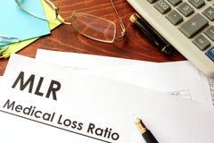 Ratio de pérdida médico MLR imagen de archivo