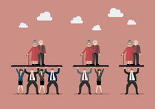 Ratio of Workers to Pensioners. Aging population problem stock illustration