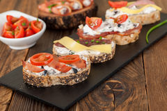 Ration assorted mini sandwiches Royalty Free Stock Photography