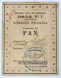 Ration book train of the army, Barcelona. Spanish civil war. Ration book of bread of the army train and official supplies in the name of José Martí Borras Stock Photo