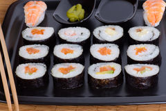 Ration sushi roll. Horizontal shot Stock Photo
