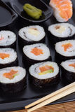 Ration sushi roll. Vertical shot Stock Photography