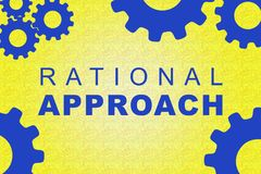 Rational Approach concept. RATIONAL APPROACH sign concept illustration with blue gear wheel figures on yellow background Royalty Free Stock Photography