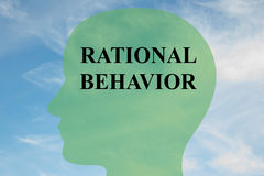 Rational Behavior concept. Render illustration of RATIONAL BEHAVIOR script on head silhouette, with cloudy sky as a background stock illustration