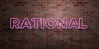 RATIONAL - fluorescent Neon tube Sign on brickwork - Front view - 3D rendered royalty free stock picture Royalty Free Stock Photo