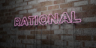 RATIONAL - Glowing Neon Sign on stonework wall - 3D rendered royalty free stock illustration Royalty Free Stock Images
