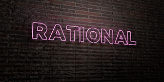 RATIONAL -Realistic Neon Sign on Brick Wall background - 3D rendered royalty free stock image Stock Image