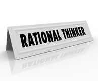 Rational Thinker Name Tent Card Reason Sensible Thought Speaker. Rational Thinker words on a name tent card for a person, speaker or panelist who is expressing royalty free illustration