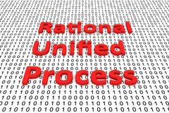 Rational Unified Process. In the form of binary code, 3D illustration Stock Image