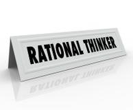 Rationaler Denker-Namen-Zelt-Karten-Grund-vernünftiger Gedanken-Sprecher Lizenzfreies Stockfoto