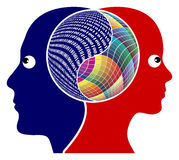 Rationality and Creativity. The right brain and the left brain got different function, either logical or creative thinking Royalty Free Stock Image