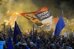 Ratko Mladic ha ritratto su una bandiera serba Immagine Stock Libera da Diritti