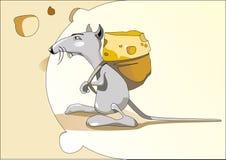 Ratón con un bolso del queso Foto de archivo libre de regalías