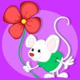 Ratón y flor Fotografía de archivo
