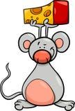 Rato bonito com desenhos animados do queijo Fotos de Stock Royalty Free