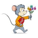 Rato bonito dos desenhos animados com a caixa e as flores de presente do coração Imagem de Stock Royalty Free