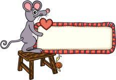 Rato bonito que guarda um sinal da etiqueta da placa do amor Ilustração Royalty Free