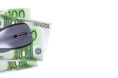 Rato com cédula do Euro Fotos de Stock Royalty Free