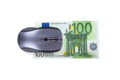 Rato com cédula do Euro Fotografia de Stock