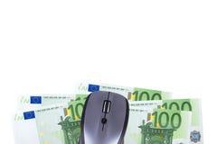Rato com cédula do Euro Imagens de Stock