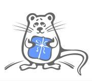 Rato com caixa azul Fotografia de Stock Royalty Free