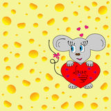 Rato com coração Foto de Stock Royalty Free