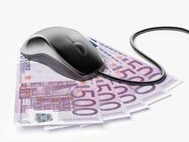 Rato com euro- contas Fotografia de Stock