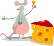 Rato com ilustração dos desenhos animados do queijo Imagens de Stock Royalty Free