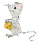 Rato com queijo Fotografia de Stock Royalty Free